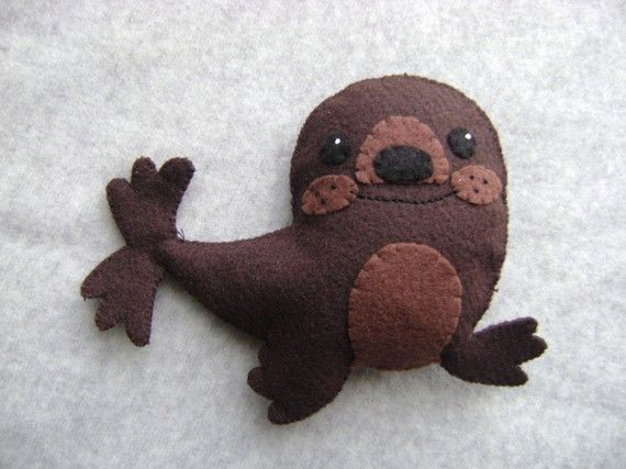 Felt Brown Seal  FREE SHIPPING US Domestic by Tuscanycreative, $16.00