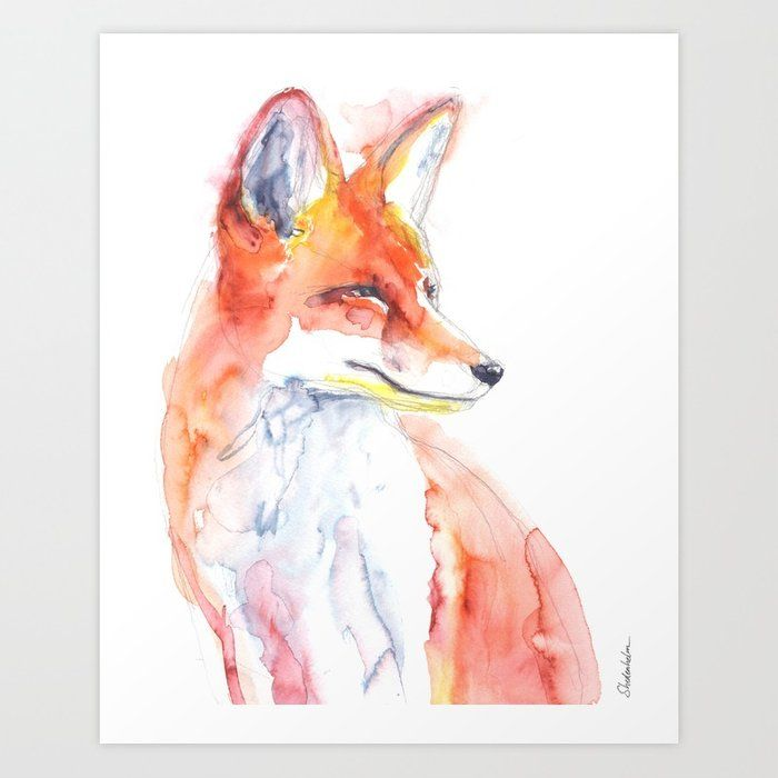 Watercolor Of A Fox Using The Arteza Watercolor Brush Pens