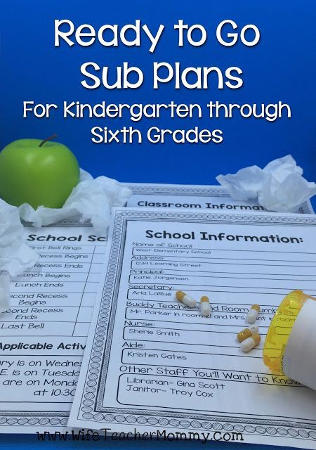 Ready to Go Sub Plans are a must have for every elementary school teacher! These are perfect for emergency sub plans as well as stress free days off. Each day of sub plans includes editable forms to type in your school schedule, school information, class information and procedures, and more. Ready-to-go lesson plans are included for Language Arts, Reading, Writing, Math, Science and Social Studies! www.teacherspayte...