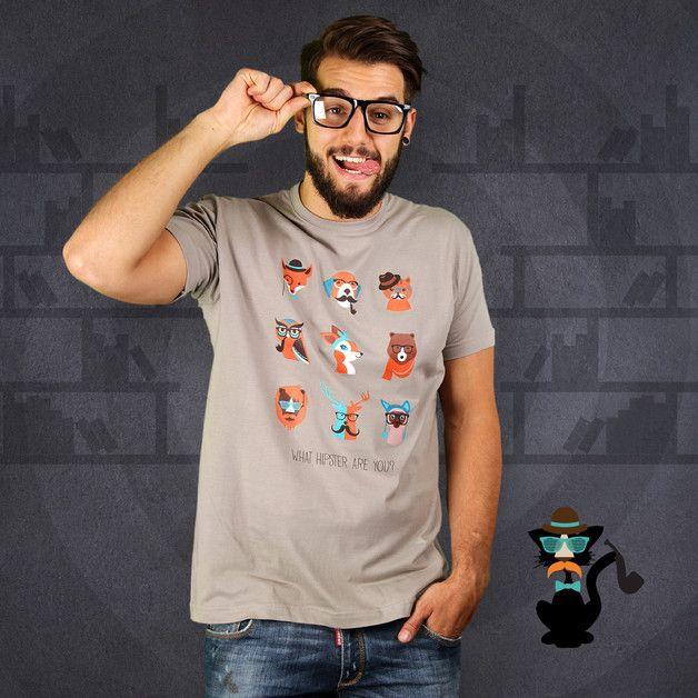 via en.dawanda.com Mens Printed T-Shirts – Animal Hipsteria (Herren T-Shirt) – a unique product by KaterLikoli on DaWanda