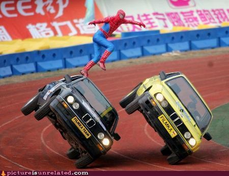 Spiderman: Spidey, Funny Pictures, Spiderman, Bmw, Costume, Stunt Pictures, Stunts, Photo