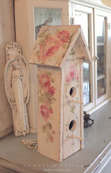 Shabby Chic Vintage Roses Birdhouse with Double Pearl Pearch. Available at http://www.debicoules.com/shabby-chic-vintage-roses-birdhouse-with-double-pearl-pearch/