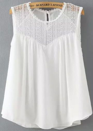White Sleeveless Lace Loose Tank Top £8.85