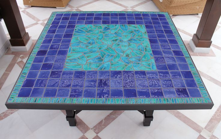 Exclusive mosaic ceramic table - made to measure - jungle leaves - square