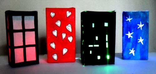 Make these wee nightlight lanterns for the wee ones you know to help settle them to sleep, or to set a mood! Ideas for the Nightlight Lanterns: Stack on top of each other for buildings. Change the nightlight Lanterns and / or the colored lights around each night as a pre-sleep activity.