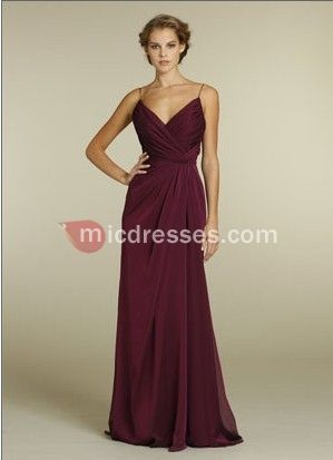 Spaghetti straps long chiffon burgundy empire pleated sleeveless floor Bridesmaid Dress BD249265 - Micdresses.com