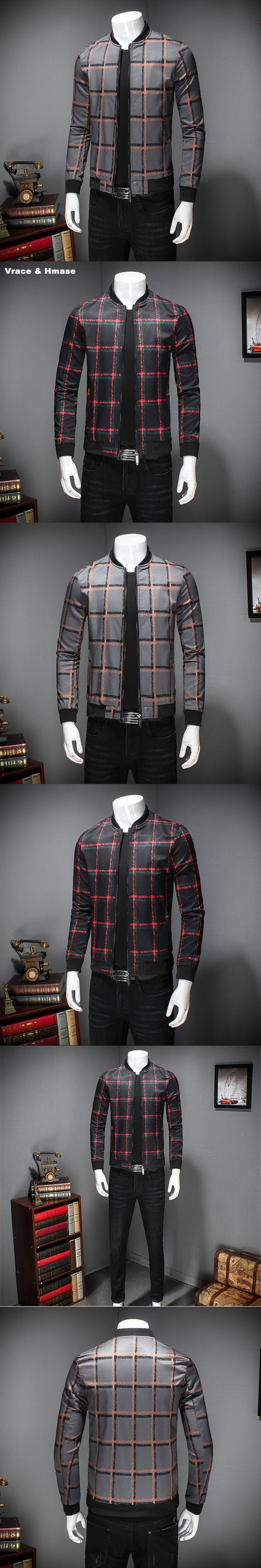 J17019 European American style 3D grid printing fashion slim jacket Autumn 2017 New high-quality stand collar jackets men M-5XL
