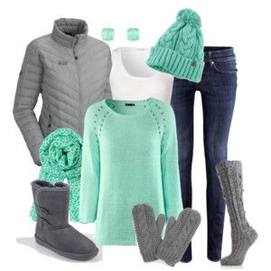 grey and mint - grey jacket, grey boots, mint shirt, jeans, and mint scarf