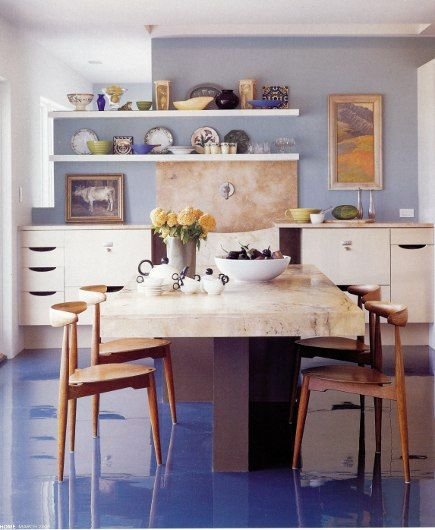Are Painted Kitchen Cabinets Durable: Blue Epoxy-paint Floor // Italian Marble Slab Table