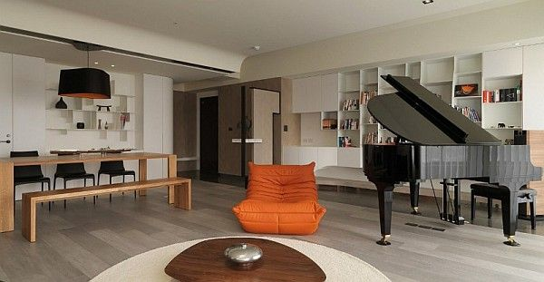 Home Design and Interior Design Gallery of Elegant Open Space Piano Orange Couch Asian Modern Apartment Neutral Colors