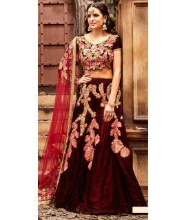 Magnificent Maroon And Beige Velvet Lehenga Choli.