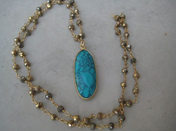 Turquoise Magnesite and Blue Topaz Pendant by empedrinidesigns, $61.00