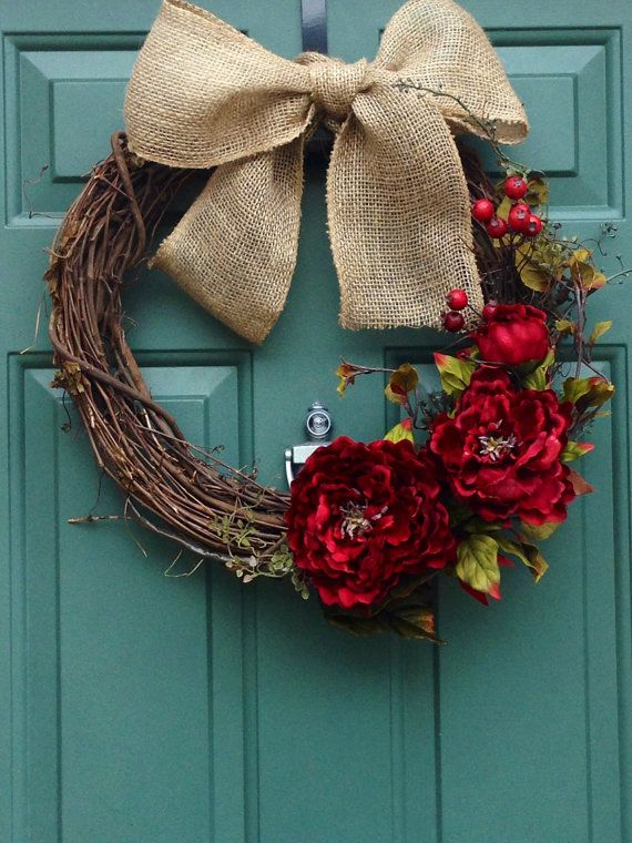 XL Christmas Elegant Holiday Winter and Fall Wreath with Silk Flowers and Burlap Bow on Etsy, $75.00
