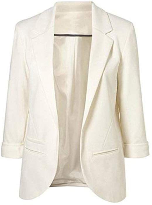 Minetom Damen Elegante 3//4-Arm Blazer Sakko Einfarbig Slim Fit Vorne Offnung Tasche Tailliert Gesch/äft B/üro Kurzjacke Jacke Mantel