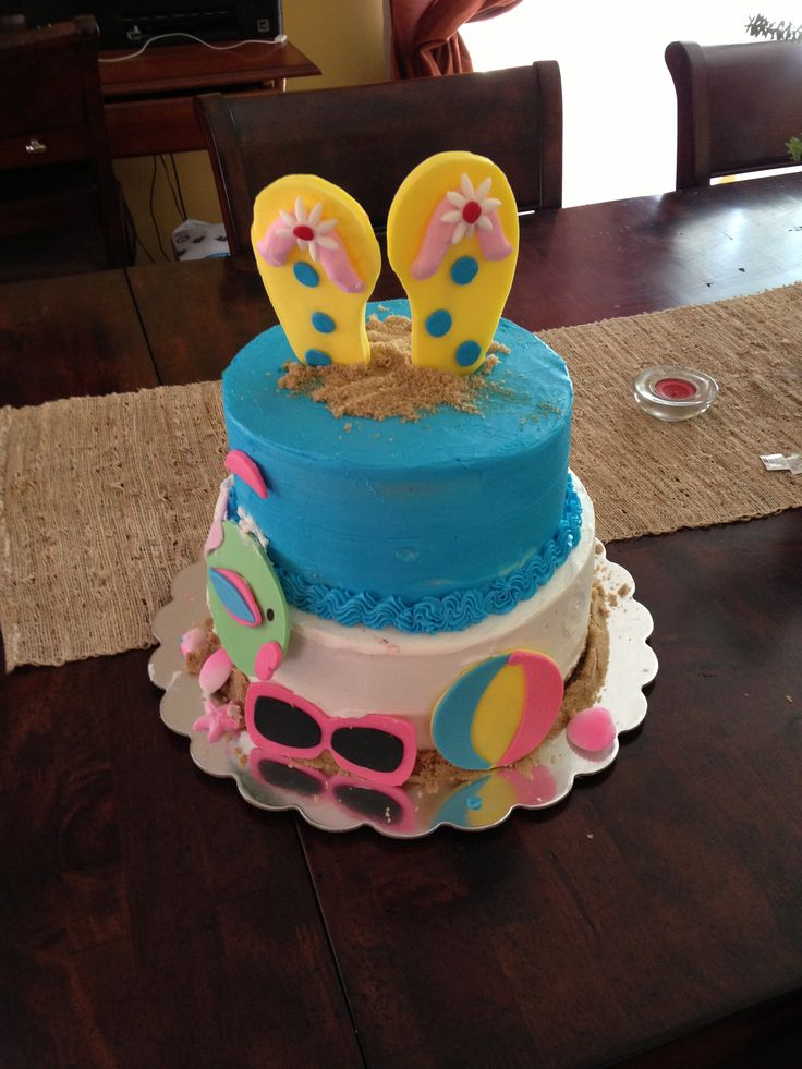 Birthday Cake Ideas Beach : Beach Themed birthday cake Beach/Pool Kids Birthday ...