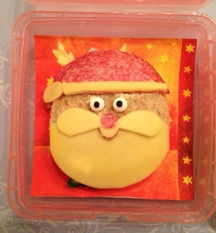 Kerstman boterham #santa #bento #lunch
