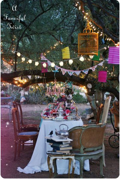 As the sun sets, lights flicker, and parties continue with glee...a bohemian themed midsummer night wedding reception. Very Intimate and Lovely