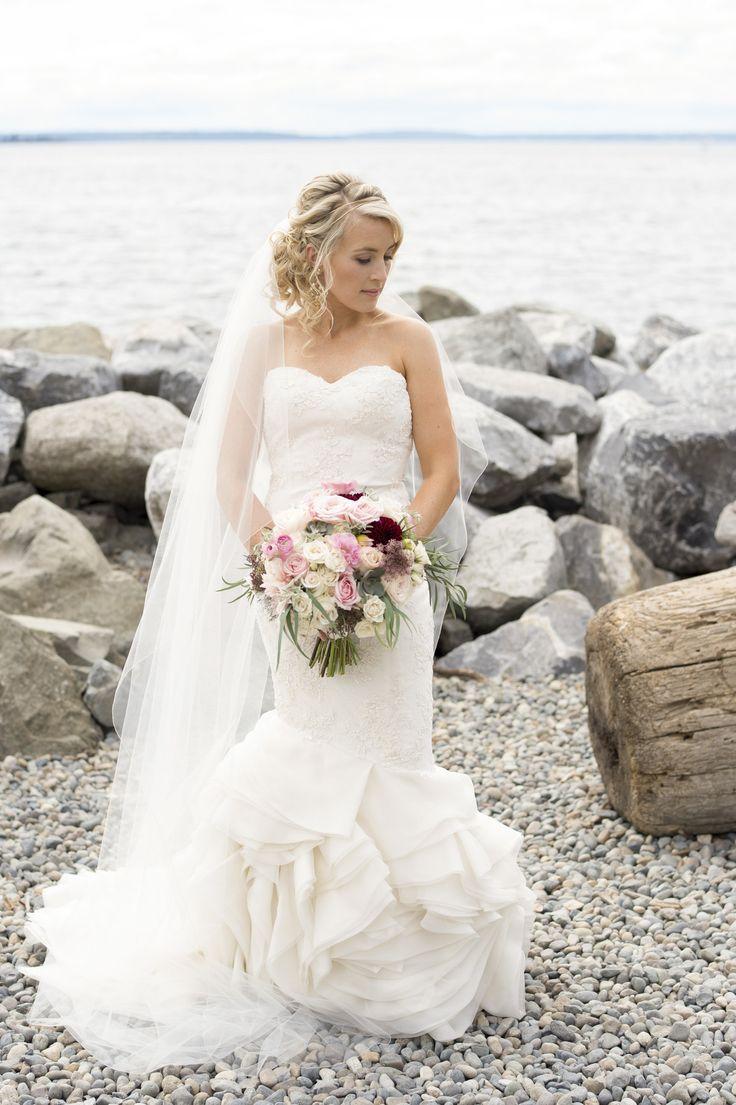 Blush and White Wedding Bouquet - A Romantic Sodo Park Seattle Wedding - Kimberly Kay Photography