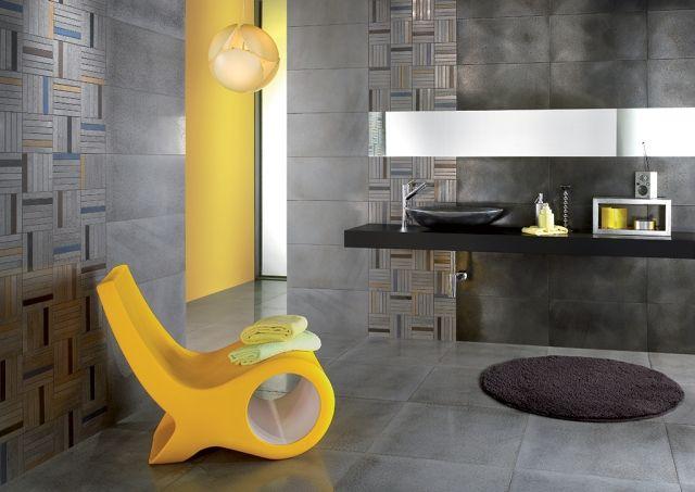 Badezimmer Fliesen Ideen Stahl Optik Grau Wand Boden