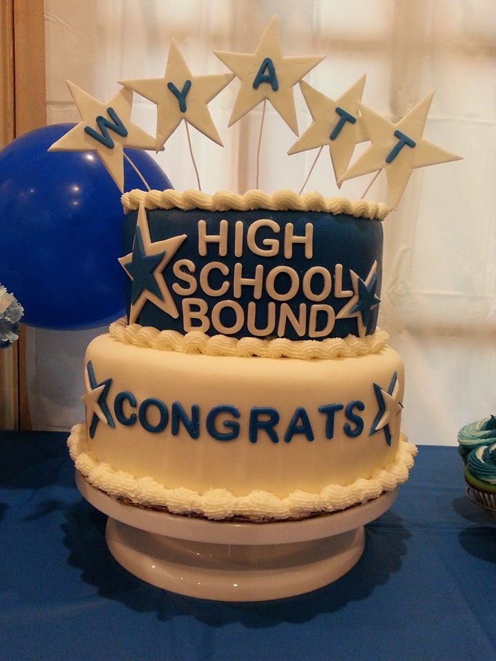 blue and white 8th grade graduation cake