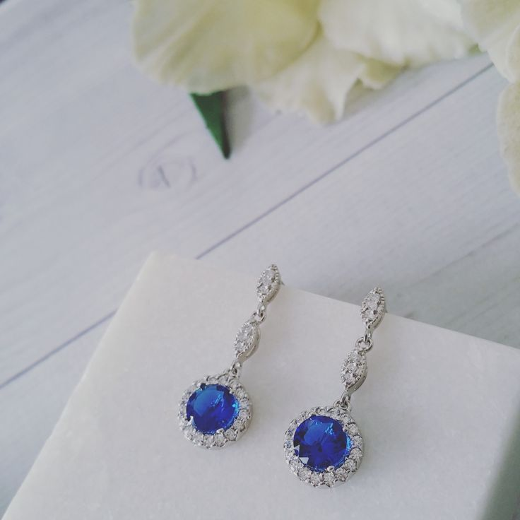 Bridal Earrings   Something Blue Bridal CZ Drop Earrings by LITTLE WHITE COUTURE