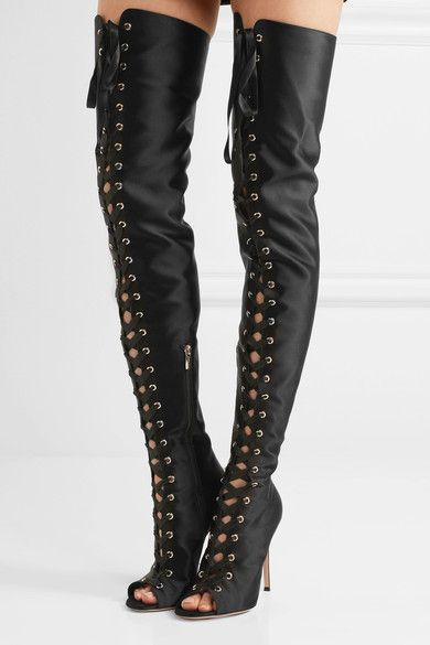 Gianvito Rossi - Lace-up Satin Thigh Boots - Black - IT