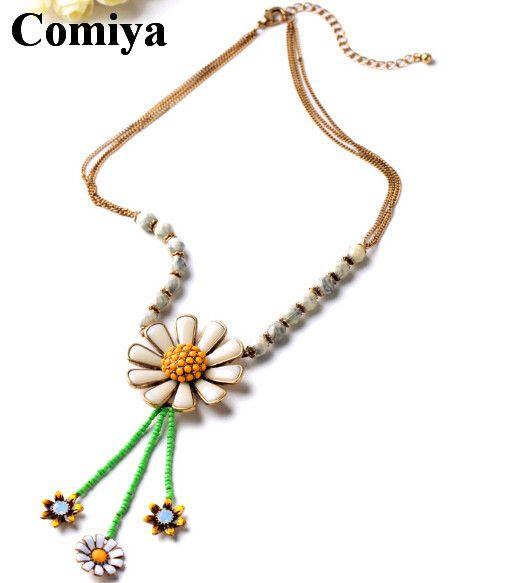 Изящные немного хризантема кулон длинная ожерелья цинковый сплав позолота акрил мозаика себе ожерелье 1 шт.купить в магазине Qingdao Comiya Fashion Jewelry Co., Ltd.наAliExpress
