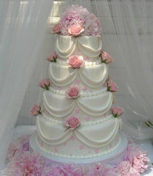 huge pink wedding cake with crystals WeddingCakeroundwhite