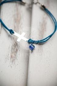 Μένη Ρογκότη - Μαρτυρικά βάπτισης βραχιόλι μπλε