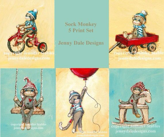 sock monkey art nursery art nursery decor sock monkey 5 print package - Monkey Bedroom Decor