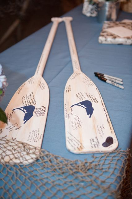 DIY guest book, such a sweet idea, but instead of ors why not an old snowboard