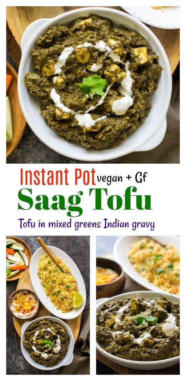 Instant Pot Saag Paneer Tofu Vegan Spinach Mixed Greens