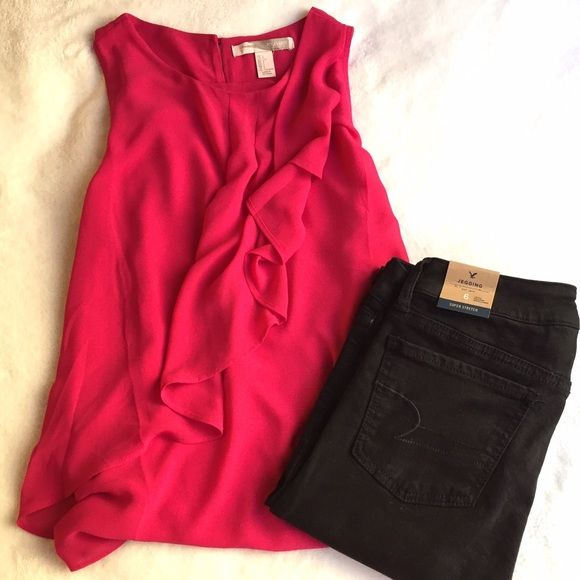 Bright Pink Wavy Top Top only!  Jeggins are listed separately.  Bright Pink top from forever 21.  Large size and never worn. Forever 21 Tops Blouses