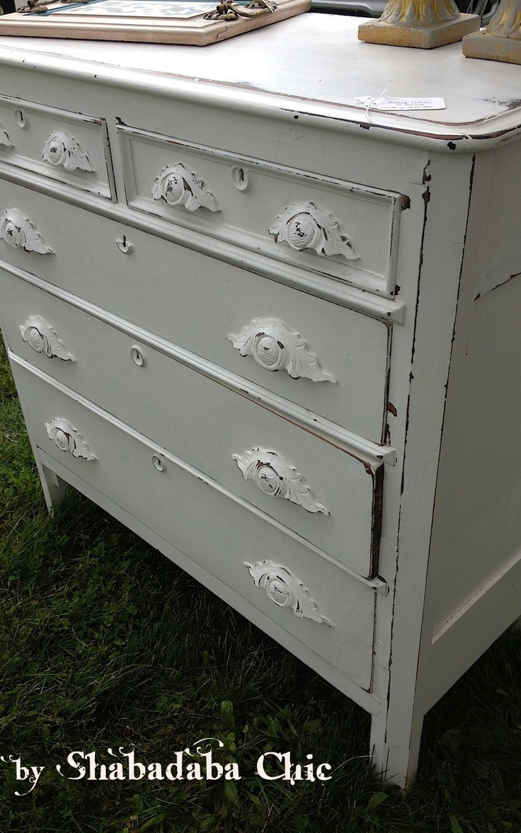 Refinished mahogany kitchen hausslers kitchens cabinet refinishing - Distressed White Vintage Dresser 175 Riverdale Park Http Furnishly Com