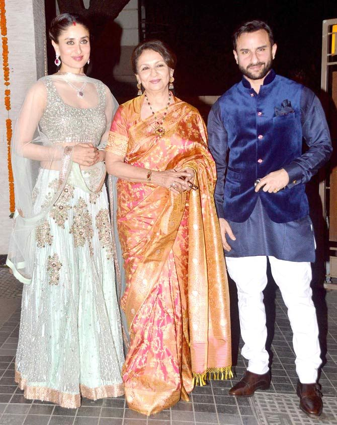 Kareena Kapoor Khan, Sharmila Tagore and Saif Ali Khan : Photos: B-Town stars at Soha Ali Khan, Kunal Kemmu's wedding reception
