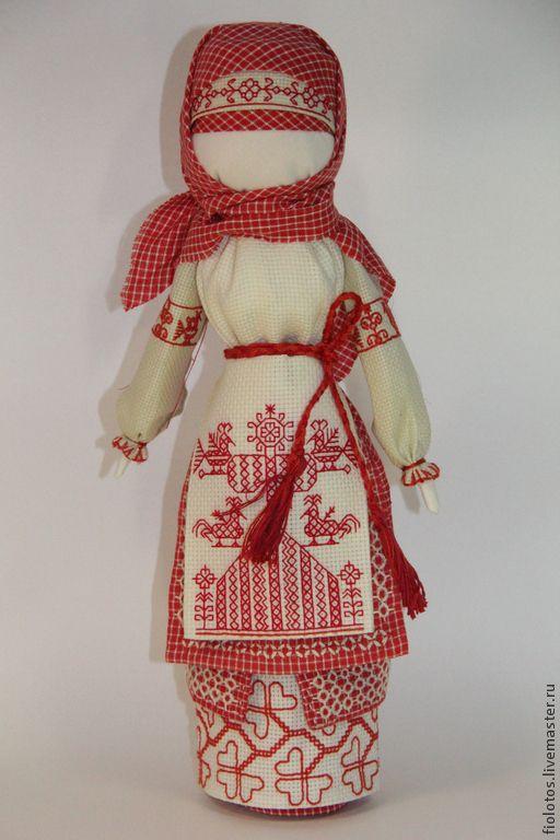 """Купить Кукла -оберег"""" Макошь """" - ярко-красный, оберег, народная кукла, вышивка ручная"""