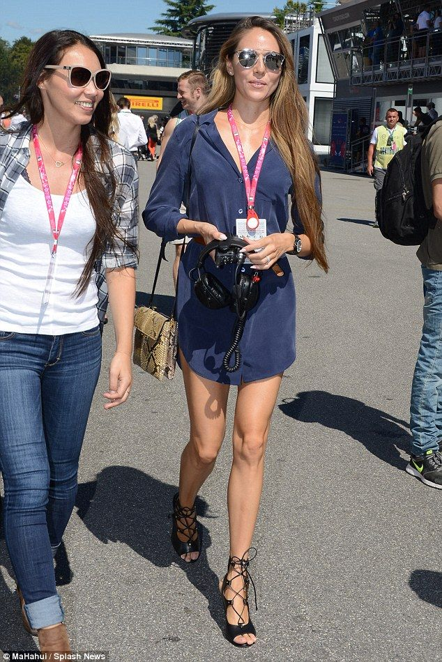 Looking stylish as ever: Jessica Button turned several heads as she arrived at the Formula One Grand Prix at the Autrodromo di Monza racetrack on Sunday