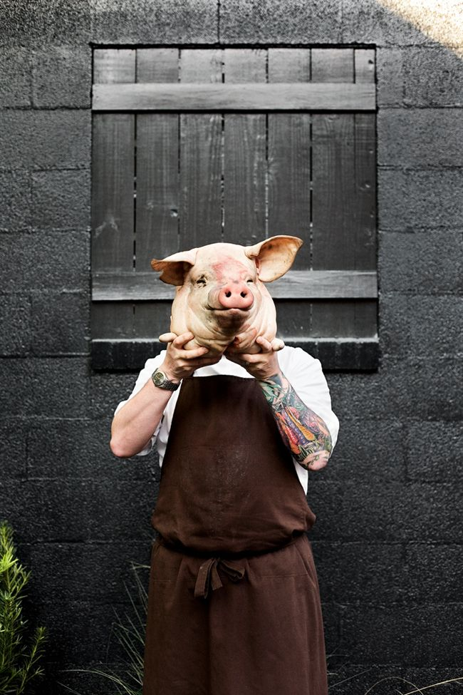 Chef shot with humour. | Copyright: Christopher Shane 2011 / http://www.christophershane.com / portrait / pig / chef / Sean Brock
