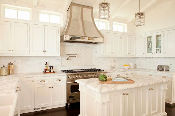 Stunning white & statuary marble kitchen + stainless steel French hood