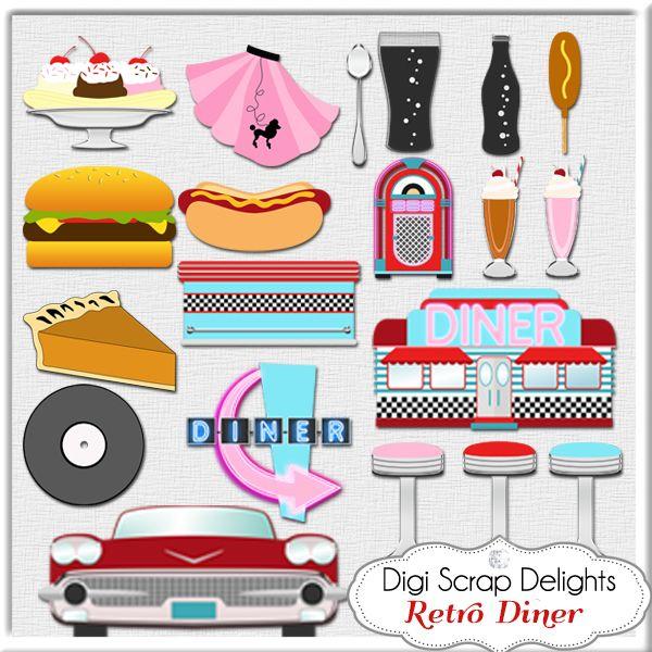 1950s retro diner clip art for Diner artwork