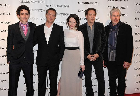 """Stephen Campbell Moore Claire Foy Photos - (L-R) Robert Sheehan, Stephen Campbell Moore, Claire Foy, Nicolas Cage and Ron Perlman attend Relativity Media's premiere of """"Season of the Witch"""" at AMC Lincoln Square Theater on January 4, 2011 in New York City. - Relativity Media's Premiere of """"Season of the Witch"""" - Red Carpet"""