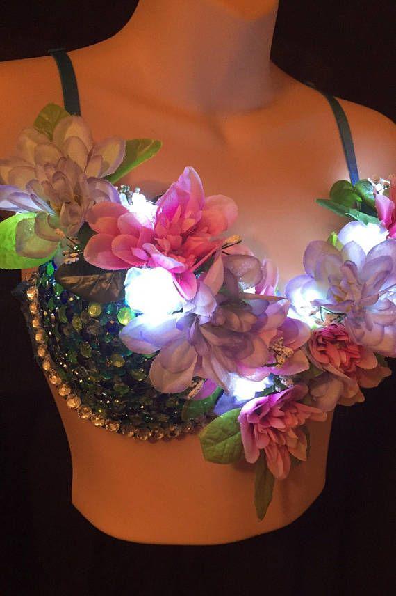 e818c99503ee1 CUSTOM MADE RAVE BRAS  FANCY DRESS BRAS EDC Flower Nymph LED Light up Rave  bra