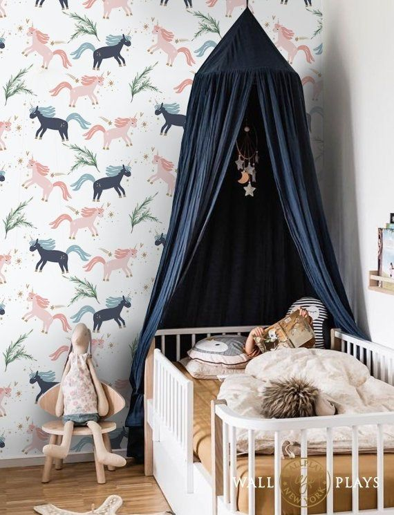Unicorn Removable Wallpaper Peel Stick Repositionable Etsy Removable Wallpaper Kids Room Interior Design Fabric Wallpaper