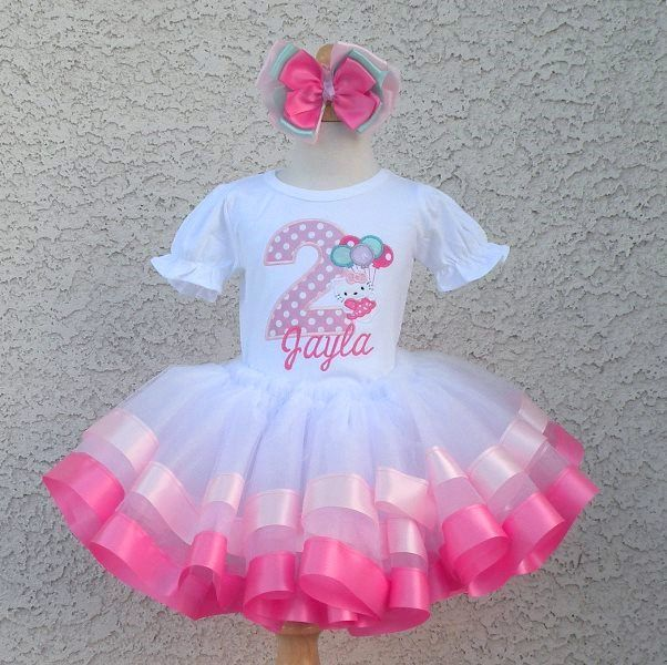 Pink Hello Kitty Birthday Balloons Satin Tutu Outfit