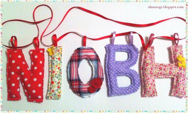 Fabric Greek letters (name Niovi) #fabricletters #alphabet #kidsstuff #kidsroomdeco #handmadefabricletters #almanogr