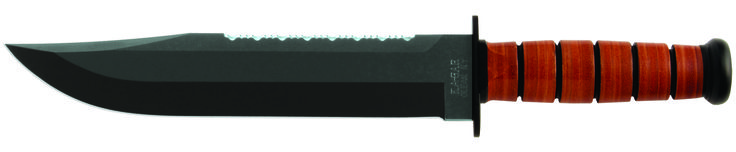 """KA-BAR 2217 Leather Handle BIG BROTHER offers a traditional stacked polished leather disc handle.  Knife has an epoxy powder coated, Cro-Van (1095) steel blade with a [HRC 56-58] hardness rating and has an overall length of 14 1/8"""" BIG BROTHER features a full 9 5/16"""" straight edge blade that has been flat ground sharpened to 20 / 20 degrees with buff polished edges.  The top of the knife blade has been serrated sharpened to help cutting through tough materials. www.tomarskabars.com"""