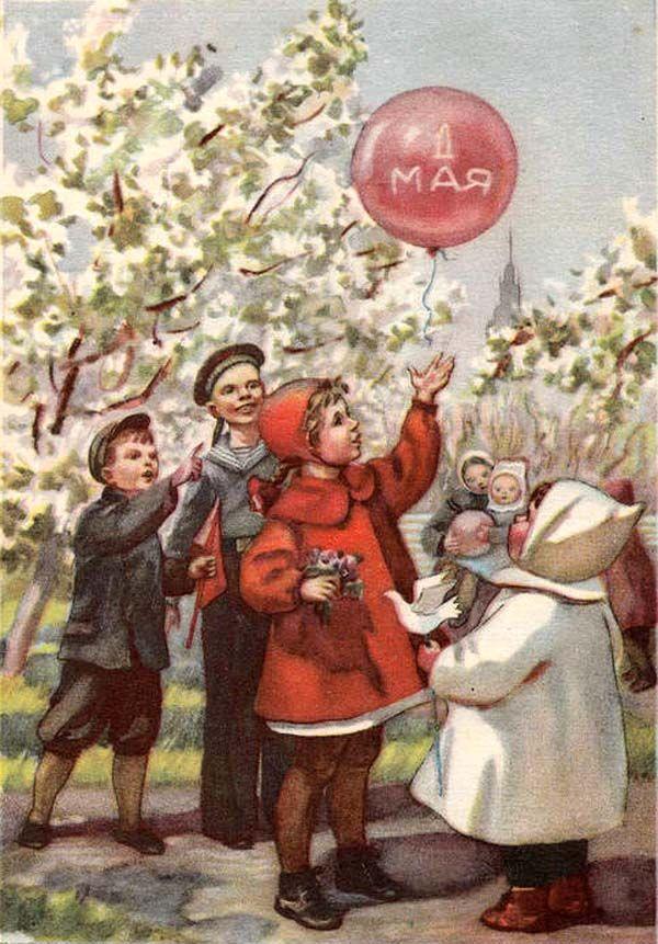 Скрапбукинга для, старые детские открытки с 1 мая