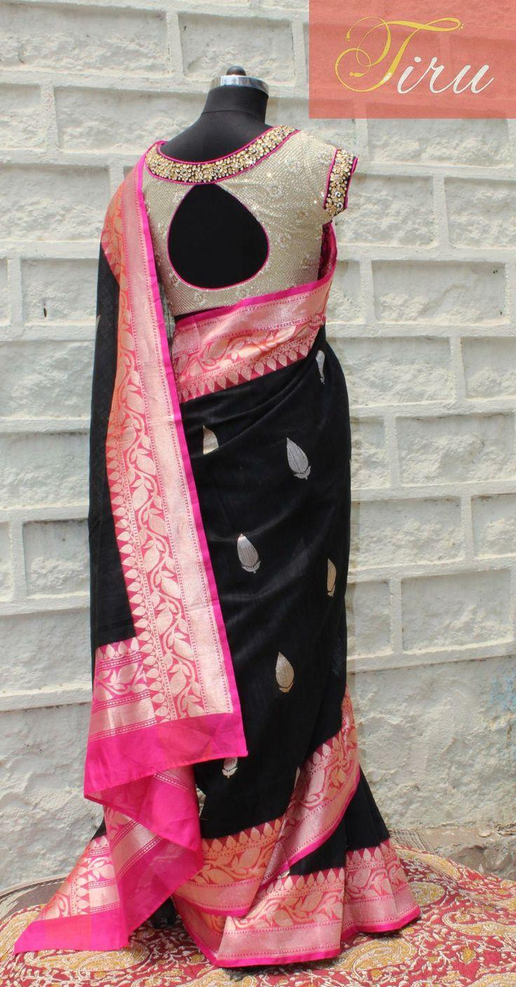 Pink border on black saree