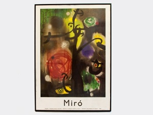 """Vintage Miro poster of """"Woman and Birds at Night"""" 1968, in black metal frame. 20 1/4"""" 28 1/4"""".Metals Frames, Circa 1968, Picture-Black Posters, Miro Posters, Black Metals, Vintage Miro"""