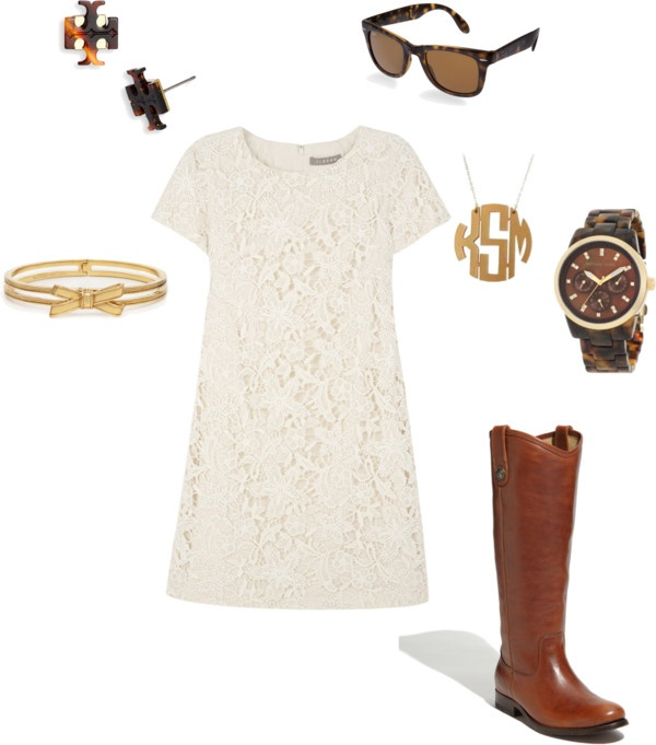 too perfect: Lace Summer Dresses, Monograms Necklaces, Lace Outfits, Dresses Boots, Riding Boots, Outfits Ideas, Initials Necklaces, Brown Boots, Lace Dresses